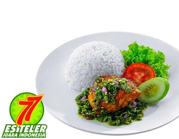 Ayam Goreng Cabe Ijo + Nasi